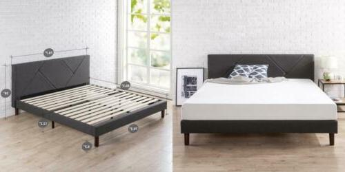 upholstered geometric paneled platform bed