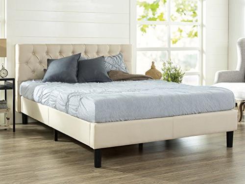 Beds Home Kitchen Zinus Misty, Zinus Misty Upholstered Modern Classic Tufted Platform Bed Queen