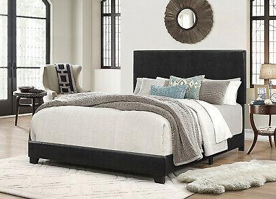 upholstered panel bed in black queen