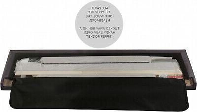 Upholstered Frame Full Size Wood Slats Headboard Mattress, Charcoal