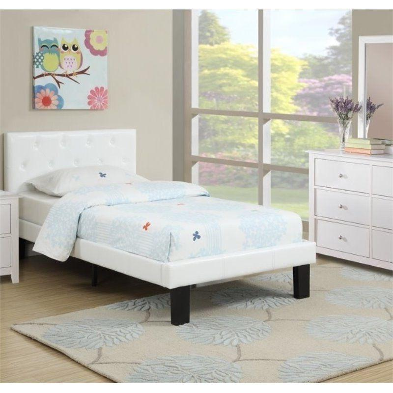 White Bed Frame Girls Twin Platform Teen Kids Headboard Foot