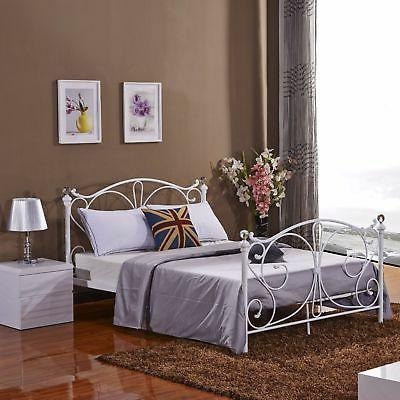 Full Size Metal Bed Frame Wood Slats Headboard Footboard Bed
