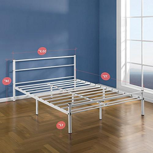 Zinus Geraldine Inch White Frame with and Footboard,