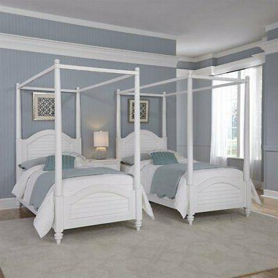 White Two Twin Canopy Beds with Night Stand
