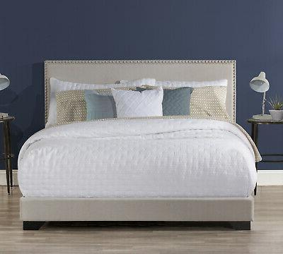 Upholstered Platform Bed Queen Size W/ Wood Slats & Headboar