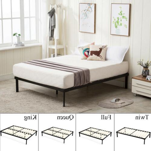 wood slats metal platform bed