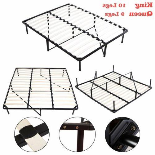 KING Queen Size Wood Slats Metal Platform Bed Frame Mattress
