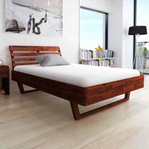 Wooden Bed Queen Size Acacia Wood High-quality
