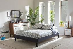 Baxton Studio Lancashire Queen Bed in Dark Gray