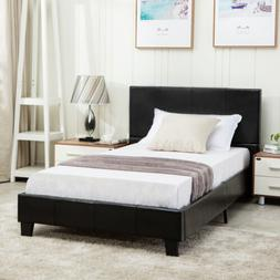 Twin Size Faux Leather Platform Bed Frame & Slats Upholstere