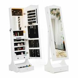 LED Mirrored Jewelry Cabinet Armoire Storage Organizer  Floo