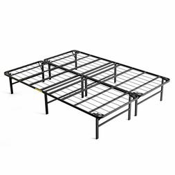 Fold Platform Metal Bed Frame, Queen-intelliBASE Lightweight