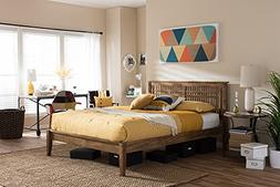Baxton Studio Loafey Full Platform Bed in Walnut