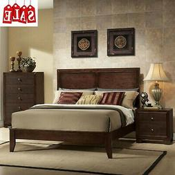 Wooden King Size Bed Frame with Headboard and Low Profile Fo
