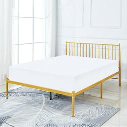 Luxury Gold Color Metal Bed Frame with Headboard 12.6 Inch C
