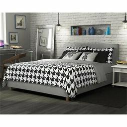 DHP Maddie Upholstered Platform Bed Frame, Grey Linen, Queen