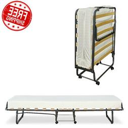 """Folding Bed Memory Foam Mattress 4"""" Frame Guest Single Wheel"""