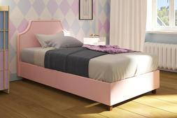 DHP Melita Upholstered Bed Twin Size Teal Linen  Mattress &