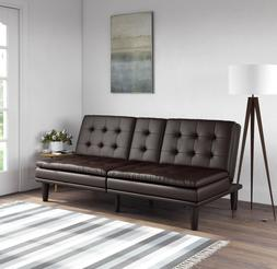 Memory Foam Pillowtop Futon Sofa Bed Frame Couch Sleeper Fau