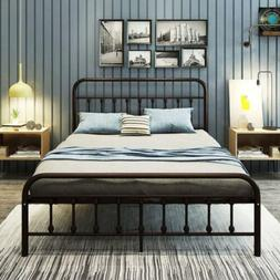 DUMEE Metal Bed Frame Queen Size Platform with Vintage Headb