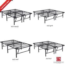 Metal Bed Frame - Foldable Steel Rail Platform - 18 Inch - K