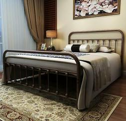 URODECOR Metal Bed Frame Queen Size Headboard and Footboard