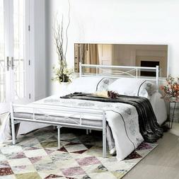 Metal Bed Frame Queen Size Mattress Foundation with Headboar
