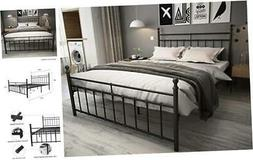Metal Bed Frame Queen Size with Headboard and Footboard/Coun