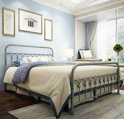 Metal Bed Frame Queen Size with Vintage Headboard and Footbo