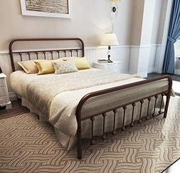 TEMMER Metal Bed Frame Queen Size with Headboard and Footboa