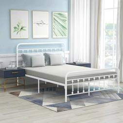 Metal Bed Frame Queen Vintage Style Headboard and Footboard