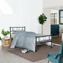 Metal Bed Frame Twin Size with Headboard and Footboard Mattr