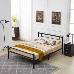 Metal Bed Frame with Headboard and Footboard ,Full Size,Blac