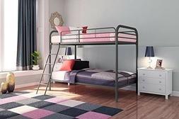 Metal Bunk Beds Twin over Full Size Ladder Kid Teen Dorm Lof