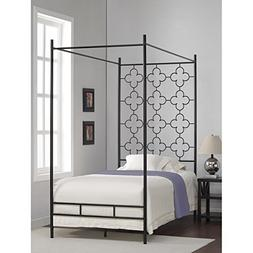 Metal Canopy Bed Frame Twin Sized Adult Kids Princess Bedroo