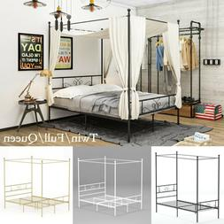 Metal Canopy Bed Frame Twin Full Queen Bedroom Mattress Foun