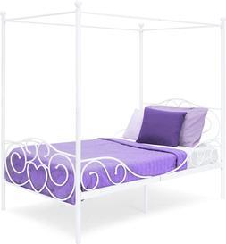 METAL CANOPY TWIN BED FRAME w/Heart Scroll Design