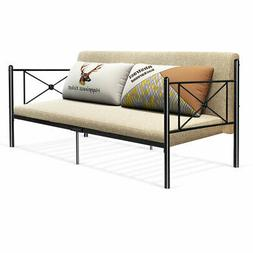 Metal Daybed Twin Bed Frame Stable Steel Slats Platform Base