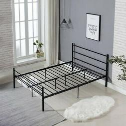 Full Size Platform Metal Bed Frame Foundation Headboard Furn