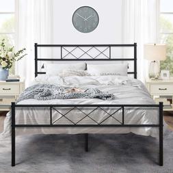 Metal Platform Bed Frame Mattress Foundation With Headboard