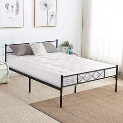 VECELO Metal Platform Bed Frame Mattress Foundation with Hea
