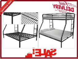 Dhp Metal Twin Over Full Bunk Bed W/ Safety Rails Black Meta