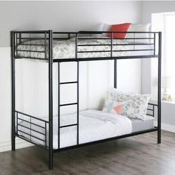 Metal Twin over Twin Steel Bunk Beds Frame Ladder Bedroom Do