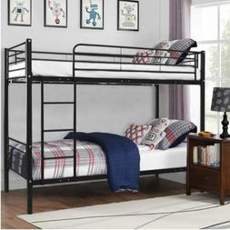 Metal Twin Size Over Bunk Beds Frame w/ Ladder Kids teens Be