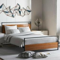 Metal +Wood Bed Frame Platform Full-Size w/Headboard&Footboa