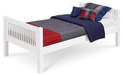 Camaflexi Mission Style Solid Wood Platform Bed, Twin, White