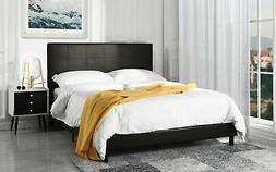 Modern Faux Leather Platform Bed Frame, Dark Brown