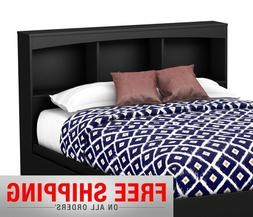 Modern Black Wood Headboard With Bookcase Storage Shelf For