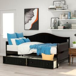 Modern Expresso Wood Daybed Sofa Bed Storage Twin Size Bed F
