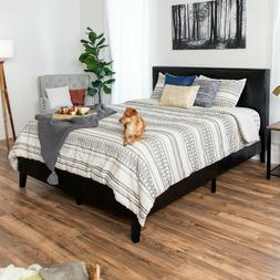 modern full size faux leather platform bed